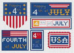 set of six 4th of july free cross stitch patterns from Alita Designs