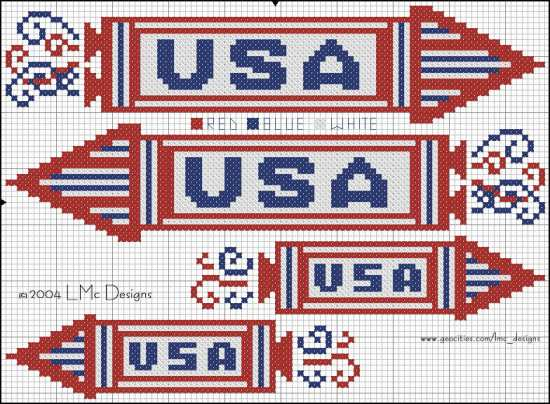 Patriotic Rockets free cross stitch pattern from  LMc Designs at Bits of Floss