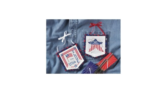 Patriotic Pockets free pocket shaped cross stitch patterns from CraftIdeas.com
