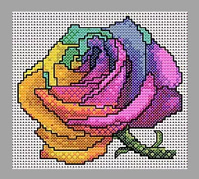 Preview of Free Rainbow Rose Cross Stitch Pattern from Mucky Musings