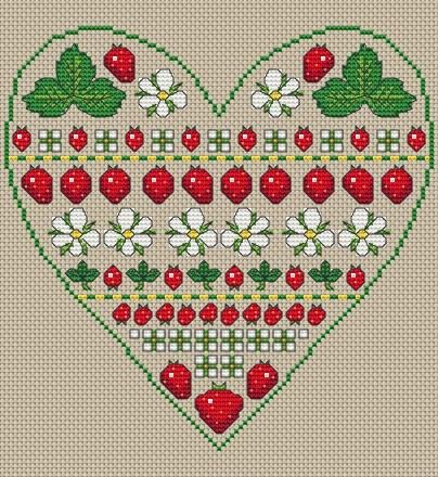 Strawberry Heart band sampler free cross stitch pattern from Amanda Gregory