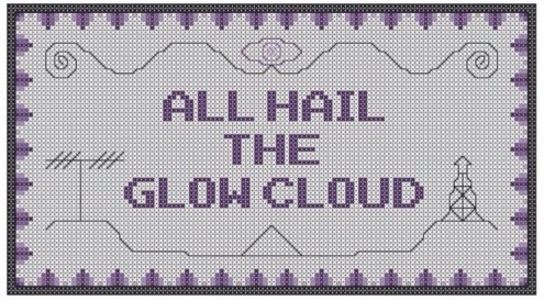 All Hail the Glow Cloud - preview of Night Vale themed free cross stitch pattern