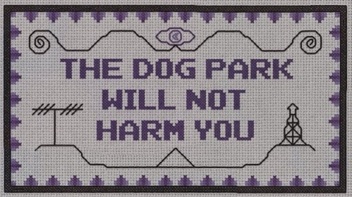 The Dog Park Will Not Harm You - preview of Night Vale themed free cross stitch pattern