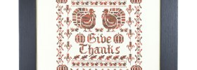 Give Thanks free Thanksgiving cross stitch pattern from DMC
