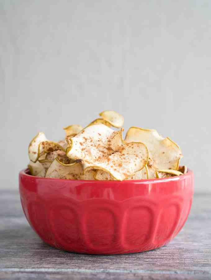 Cinnamon Spiced Apple Chips Bowl