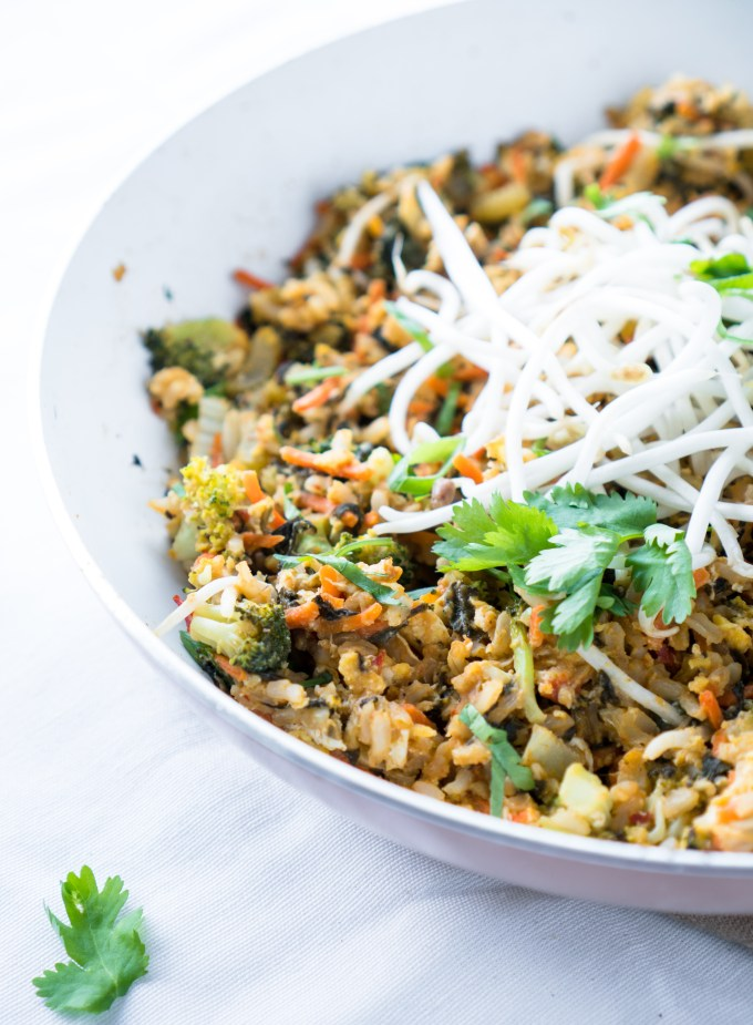 Healthy Fried Rice – 30 min recipe for Healthy Fried Rice with gluten-free chili garlic peanut sauce! Using wholesome ingredients like brown rice, coconut oil, broccoli, spinach, carrots, celery, and bean sprouts. Serve as a vegetarian dish or top with shredded chicken for a full meal! ♥ | freeyourfork.com