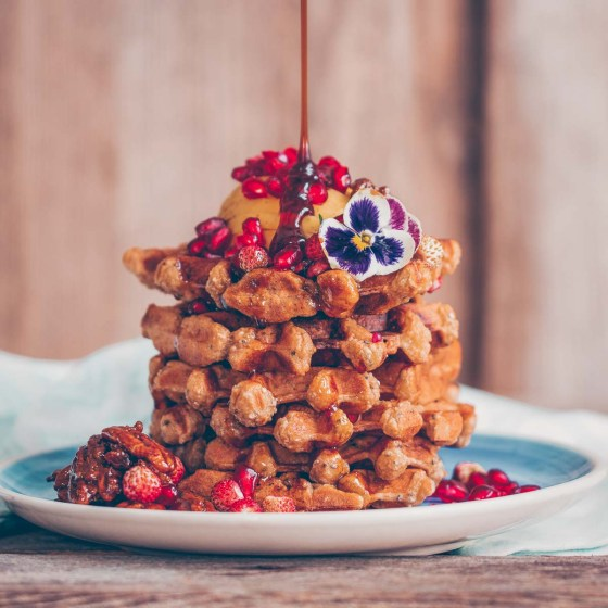 Chia apple waffles