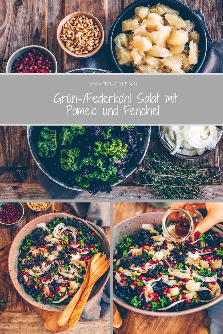 Federkohlsalat mit Pomelo und Fenchel