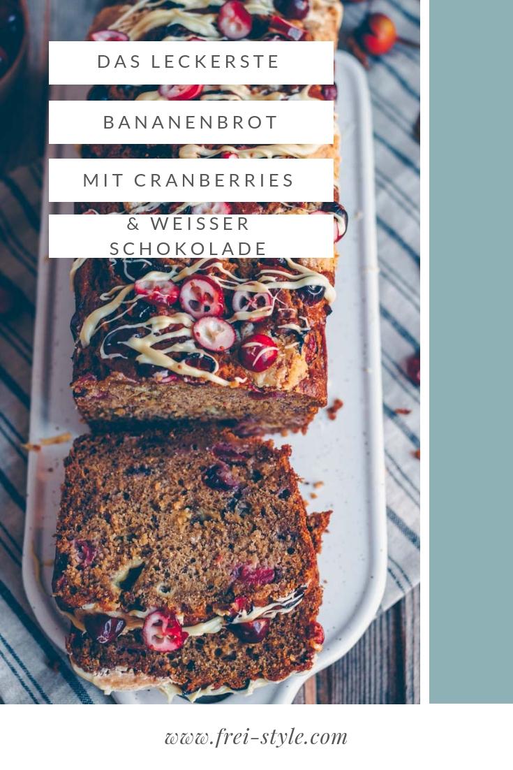 Das beste Bananenbrot mit Cranberries und weisser Schokolade * vegan