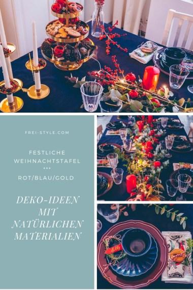 Weihnachtsdeko rot/blau/gold