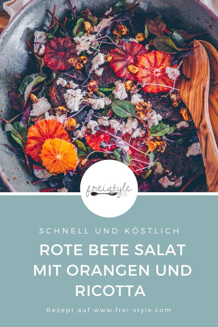 Rote Bete (Randen) Salat mit Orangen und Ricotta - vegan