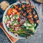 Grilled tofu mushroom skewers with salad