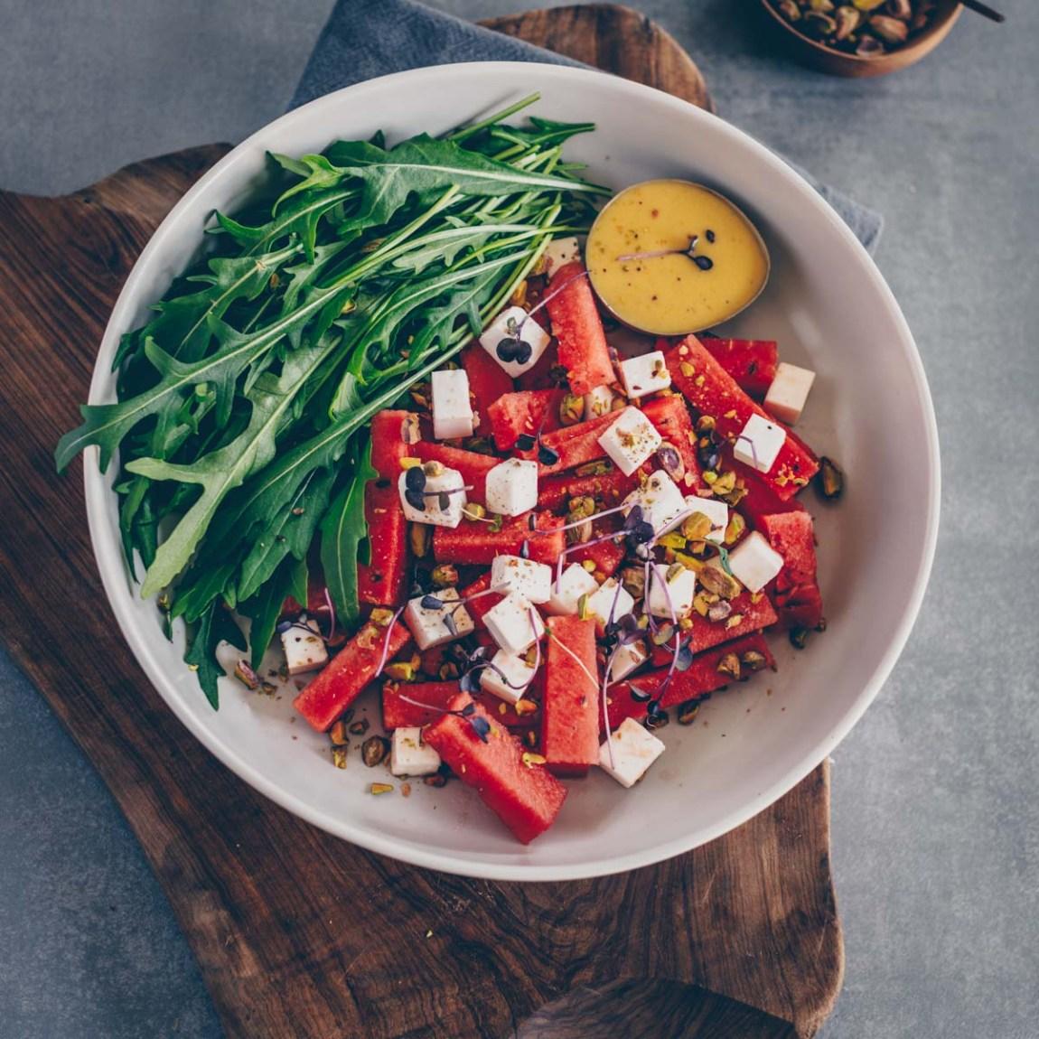 Veganer Wassermelone-Feta Salat
