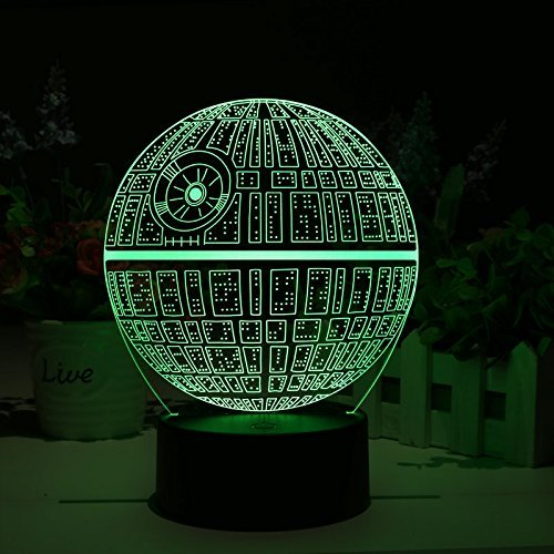 Star Wars Death Star 3d led Lamp – holográfica Lamp, 2 modos de luz, 7 colores, Powered USB o batería AA