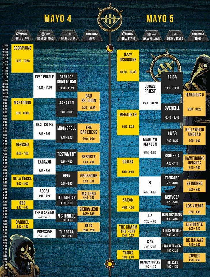 horarios corona hell and heaven fest 2018