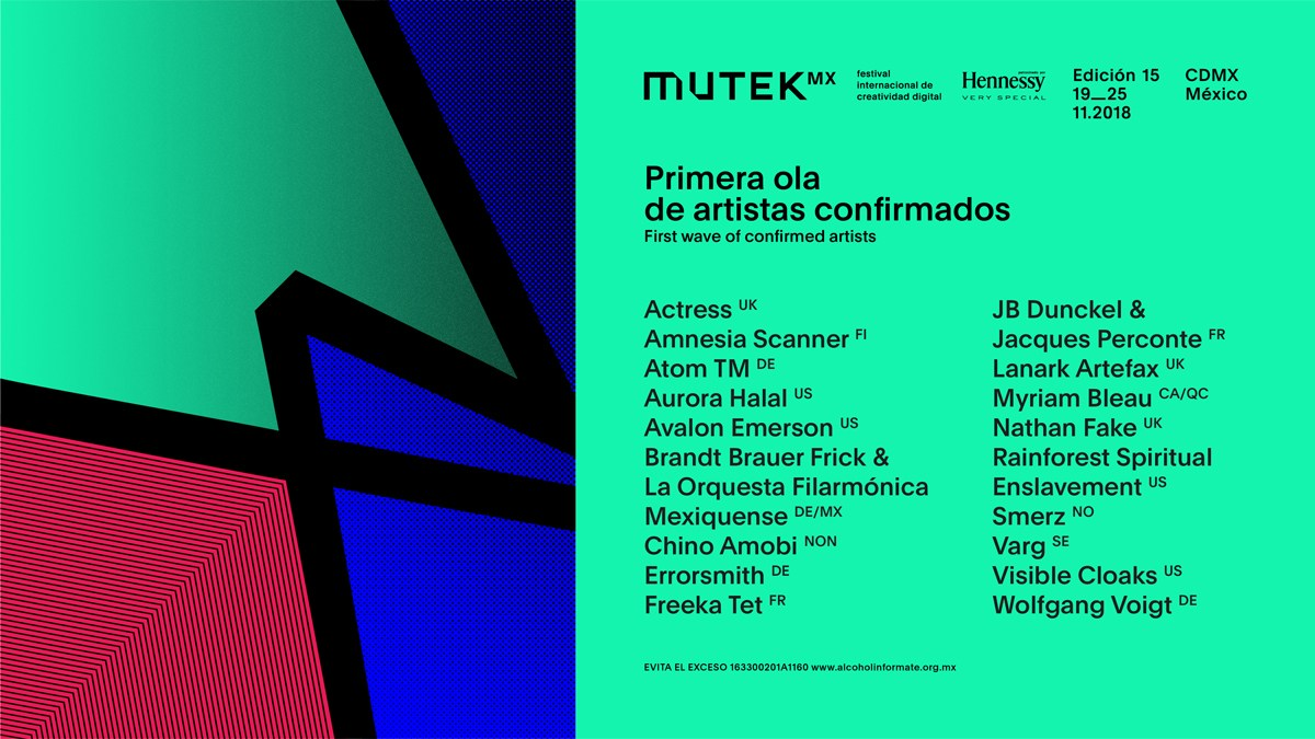 mutek MX 2018 line up, cartel