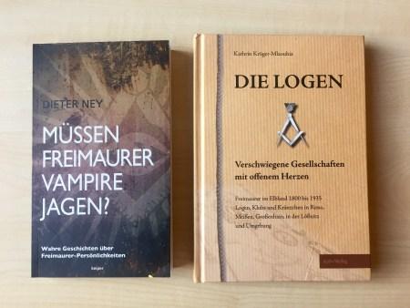 Cover »Müssen Freimaurer Vampire jagen« von Dieter Ney und »Die Logen« von Kathrin Krüger-Mlaouhia