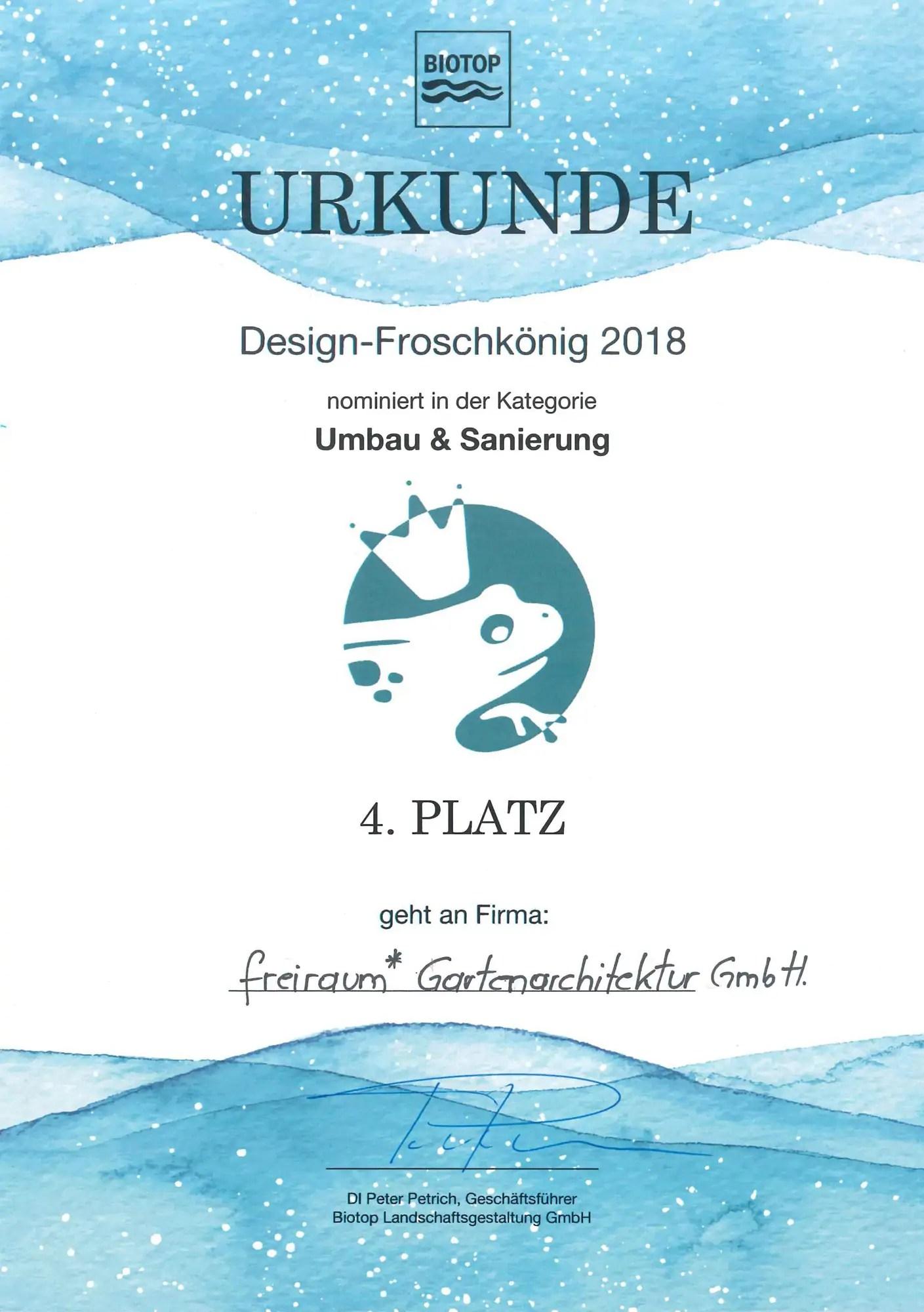 FREIRAUM Urkunde Design Froschkoenig 2018