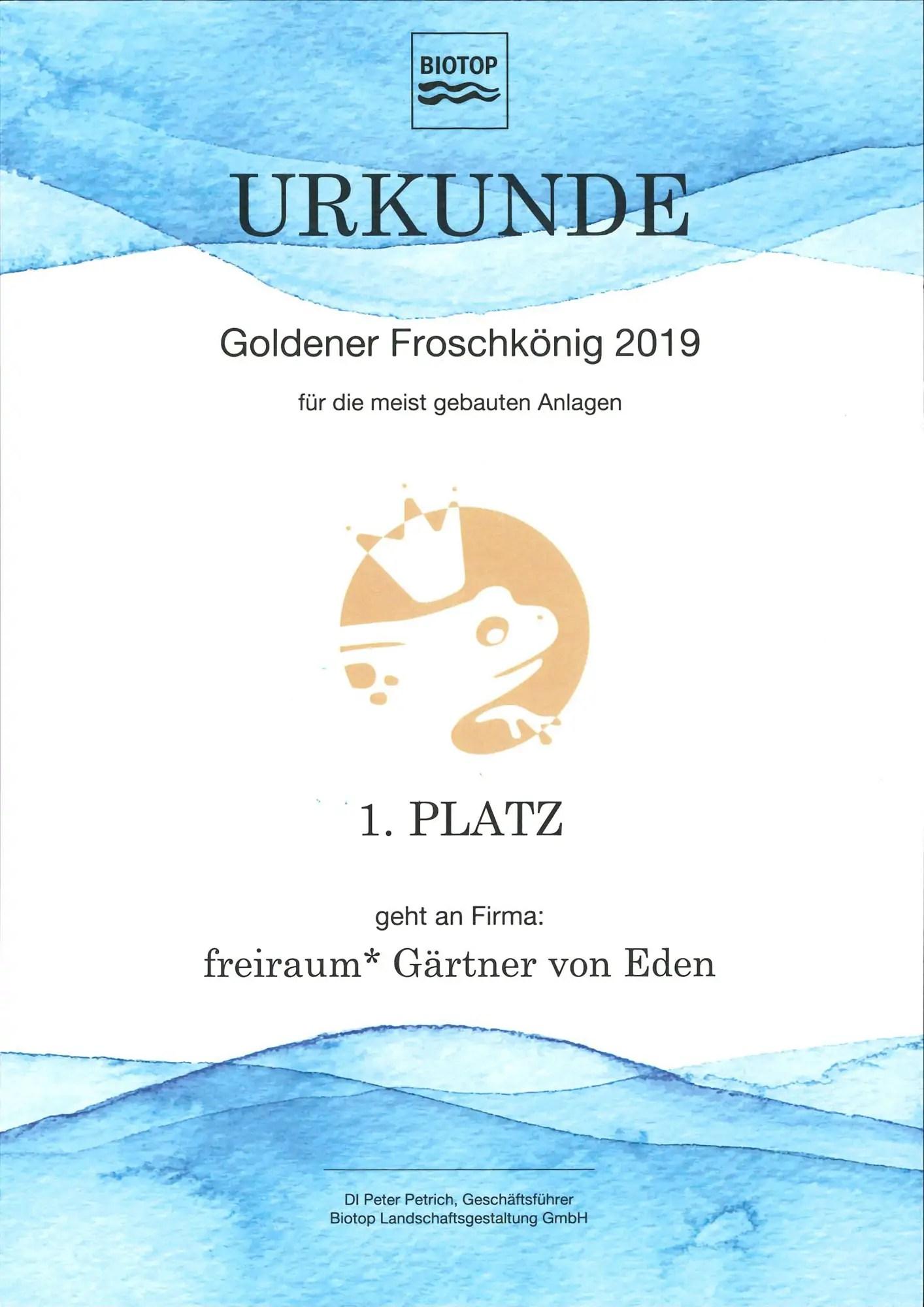 FREIRAUM Urkunde meist gebaute Anlagen 2019