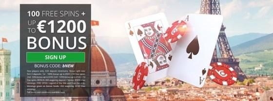 bCasino 1.200 EUR bonus and 100 free spins