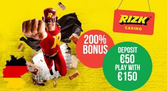 200% bonus + 50 Freispiele (RIZK)