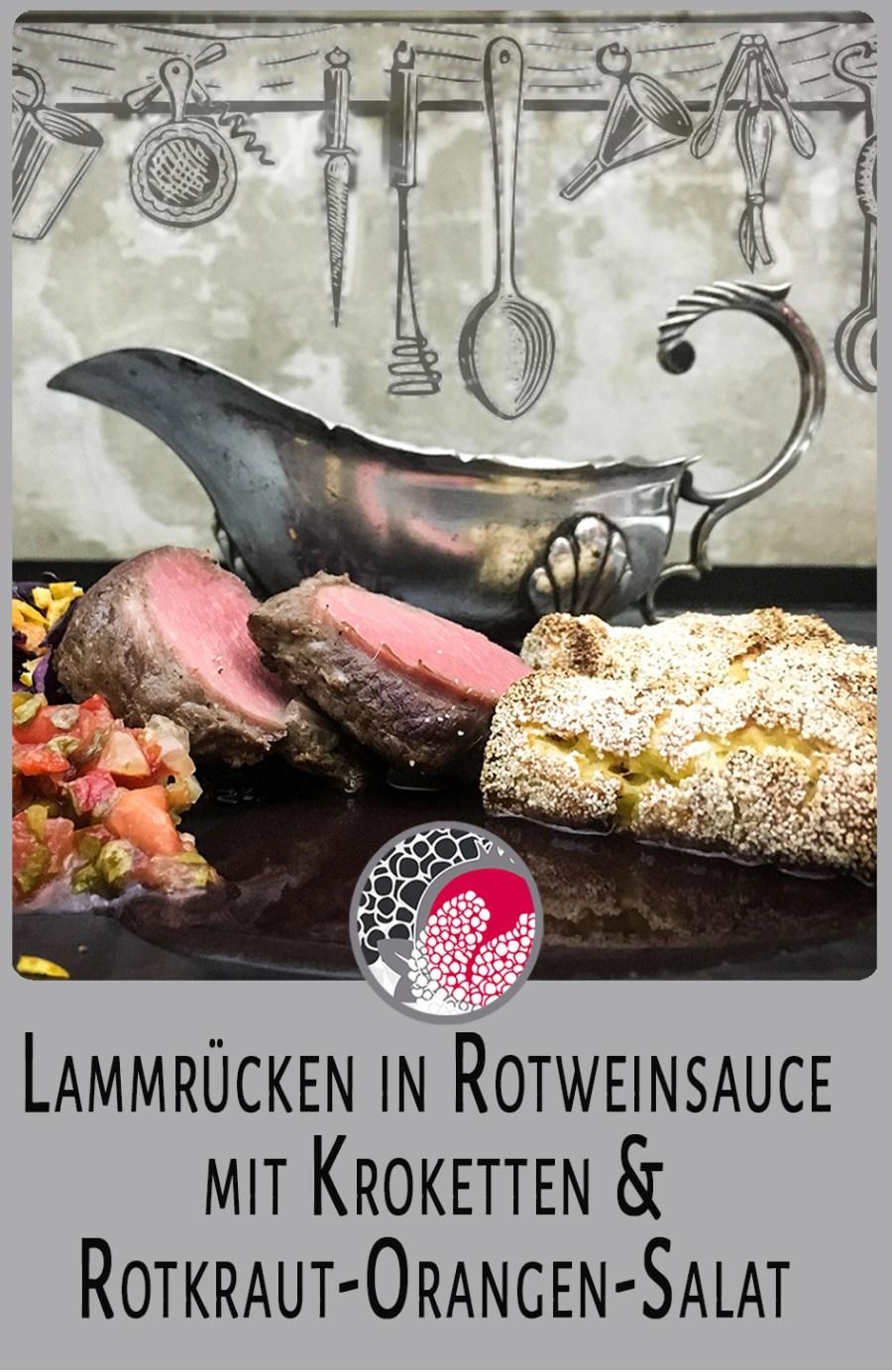 Lammrücken Rotweinsauce Rotkraut Orangen Salat saddle of lamb
