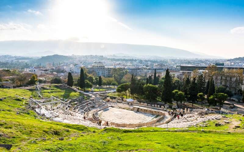 Klassenfahrt Athen Dionysostheater von oben