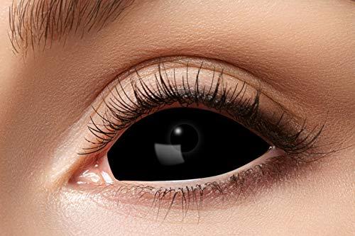 Eyecatcher 84091541-s03 - Farbige Sclera Kontaktlinsen, 1 Paar, für 6 Monate, Schwarz, Karneval, Fasching, Halloween