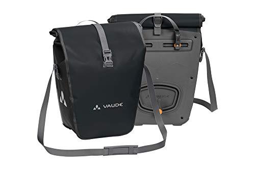 VAUDE Aqua Back Fahrrad Tasche – wasserdichte Gepäckträger Tasche im praktischen 2er Set – Fahrradtasche aus robustem & PVC-freiem Planenmaterial black 48l – Made in Germany