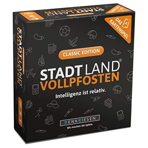 DENKRIESEN - Stadt Land VOLLPFOSTEN - Das Kartenspiel - Classic Edition   Wichtelgeschenk   Stadt Land Fluss Familienspiel   Geburtstagsgeschenk   Reisespiel