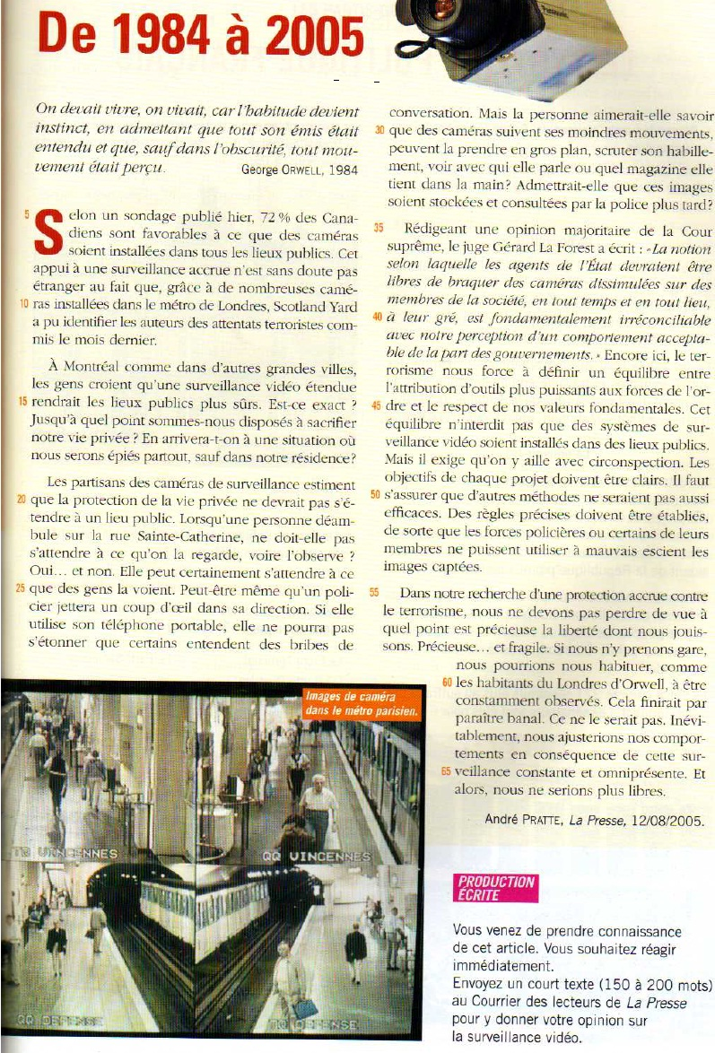 Discuss in French the pros and cons of videosurveillance