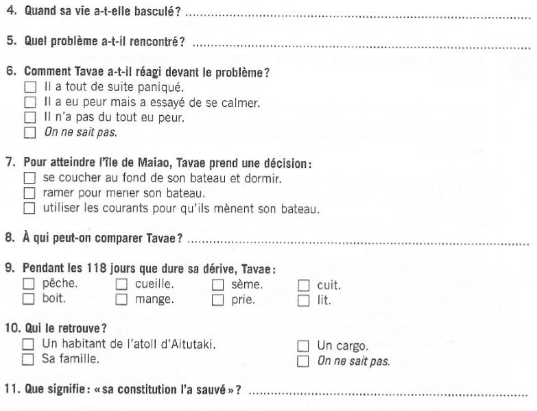 French reading exercise -