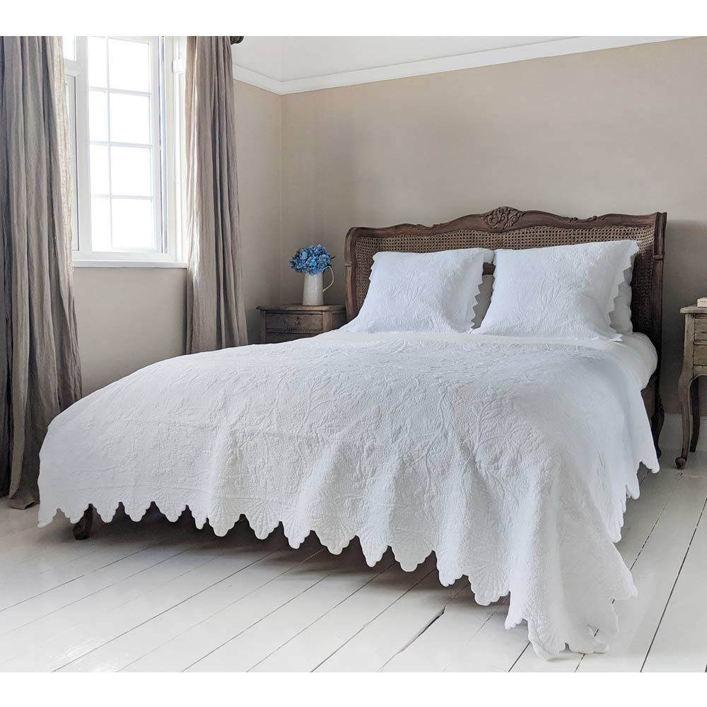 italian white cotton quilted bedspread pillow sham set