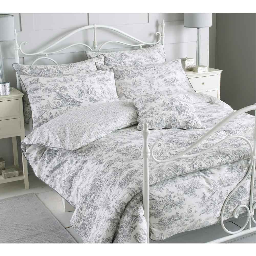 toile french grey bed linen set single