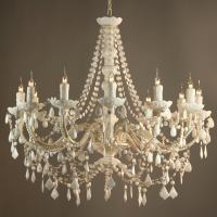 Fifi French Vintage Style White 12 Arm Acrylic Chandelier ...