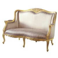 Versailles Gold Bedroom Sofa with Silk Upholstery, French ...