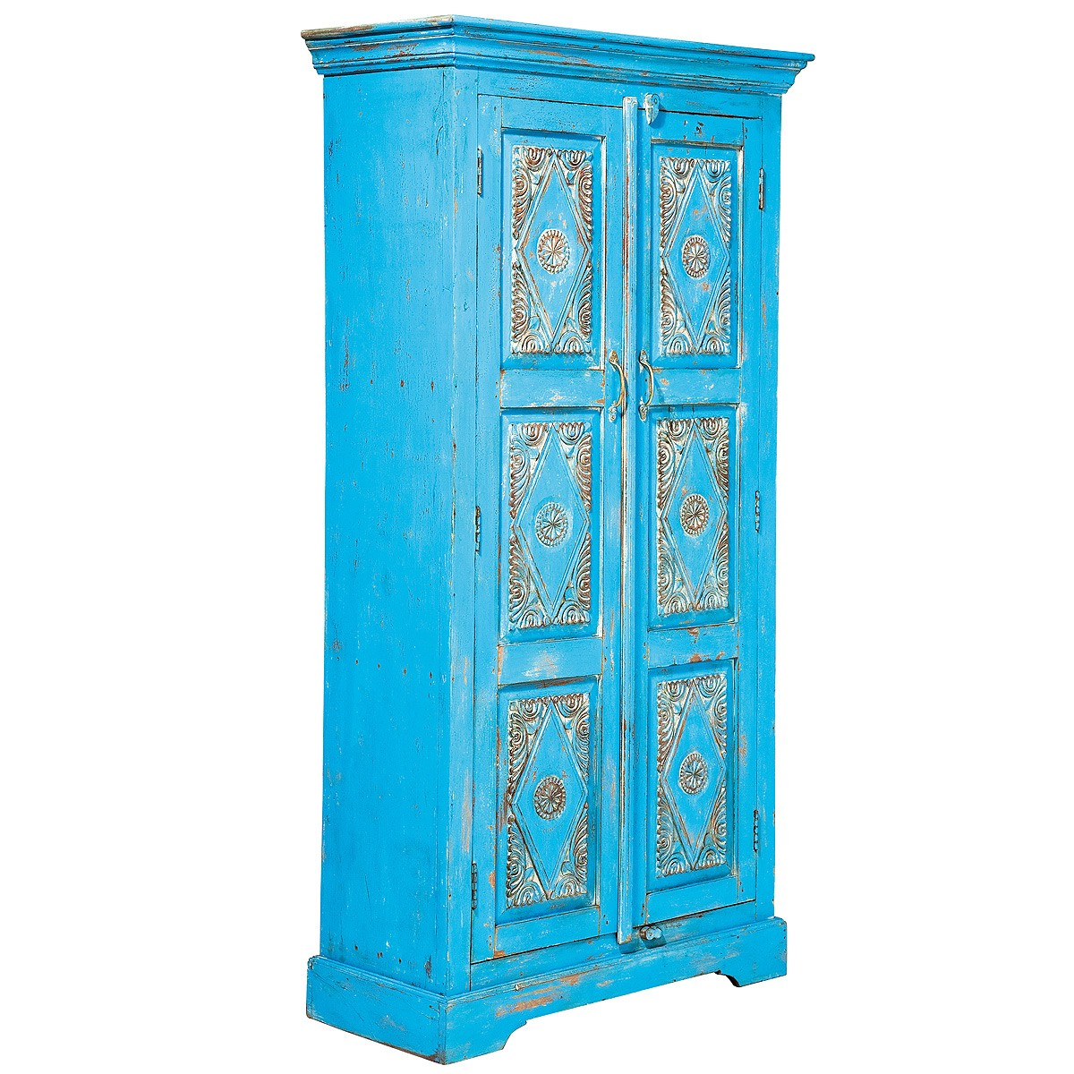 Formentera Azure Blue Carved Armoire French Bedroom Company