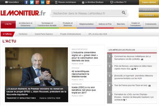 La page d'accueil du Moniteur.fr du 12 février 2018.