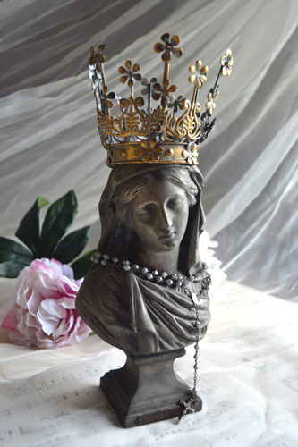 French Antique Bust Madonna Virgin Mary Statue With Santos