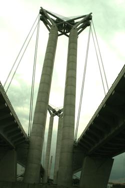 Pont Gustave Flaubert vertical lift bridge in Rouen