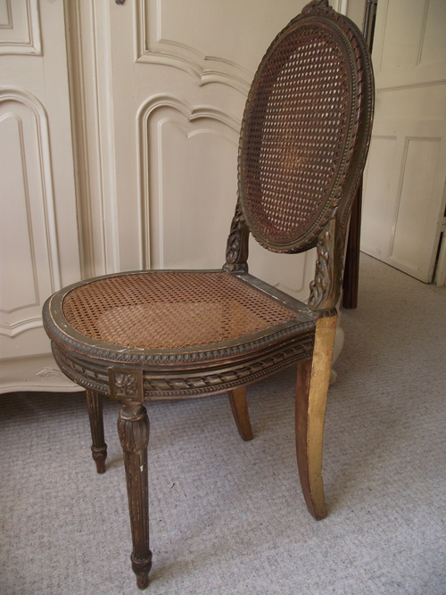 A3104 Antique French Cane Louis XVI Style Chairs