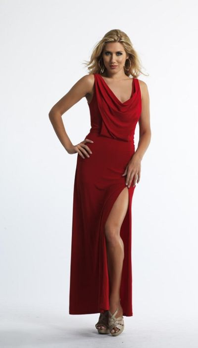 Dave and Johnny 10222 Draped Cowl Neck Long Dress French Novelty