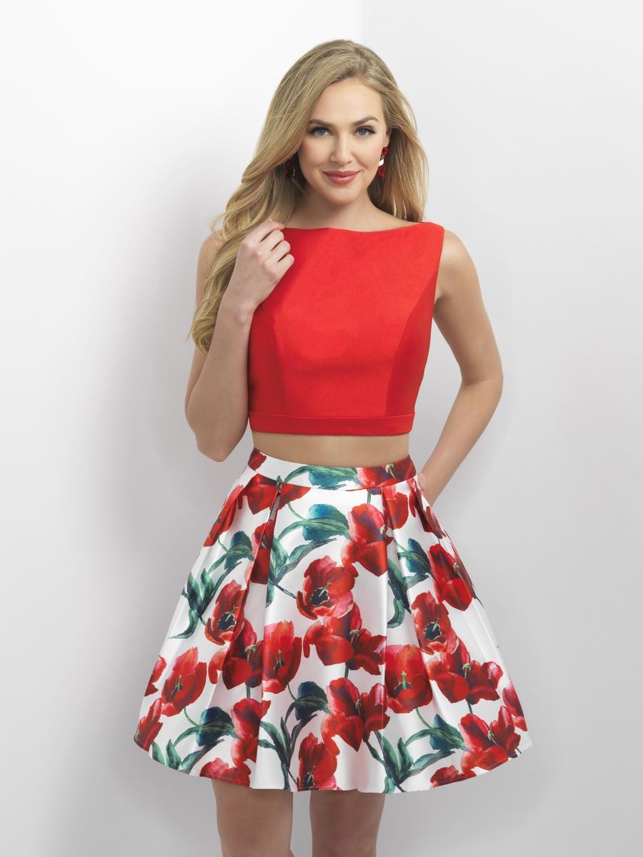 Blush 11153 Short Floral Print 2pc Dress French Novelty