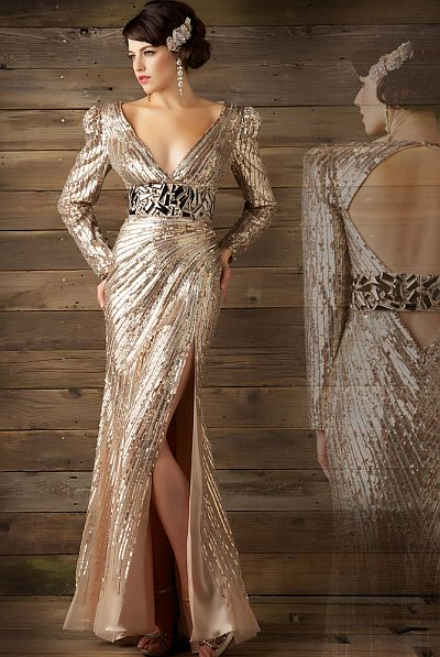 MacDuggal Couture Seductive Liquid Metallic Evening Dress 1135D French Novelty
