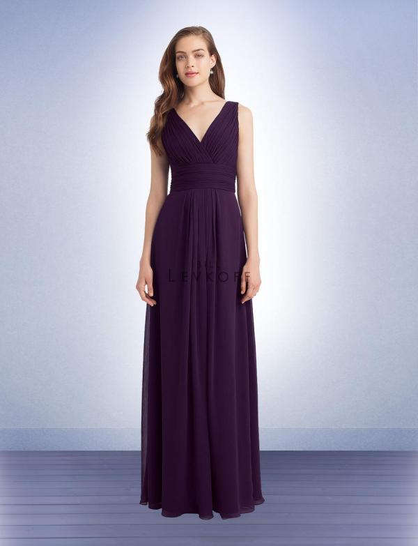 Bill Levkoff 1139 Neck Long Bridesmaid Dress French Novelty