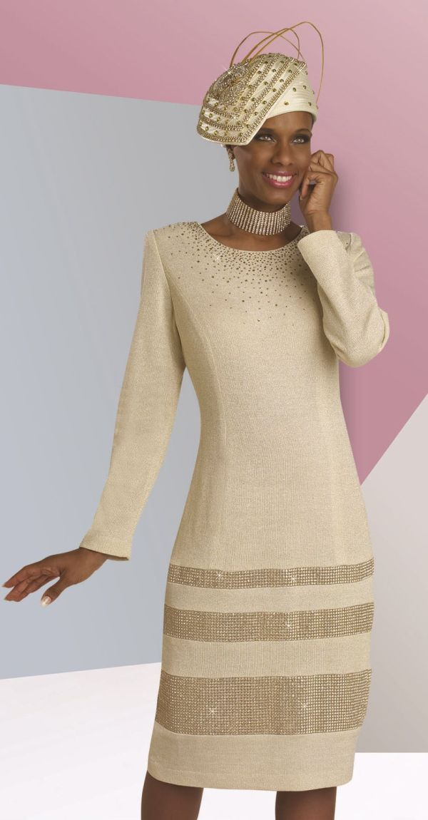 Donna Vinci 13025 Lurex Knit Church Dress French Novelty