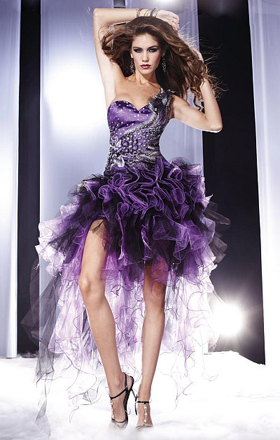Panoply One Shoulder High Low Ruffle Organza Prom Dress 14457 French Novelty