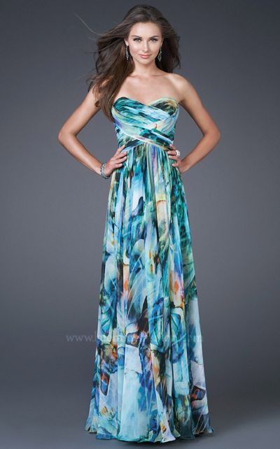 Watercolor Print Prom Dresses 2011 La Femme Chiffon 15961 French Novelty