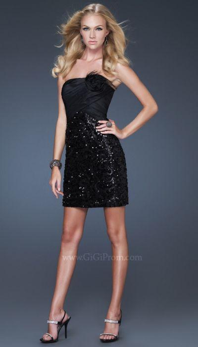 GiGi Short Black Sequin Prom Dress with Flower 16047 by La Femme French Novelty
