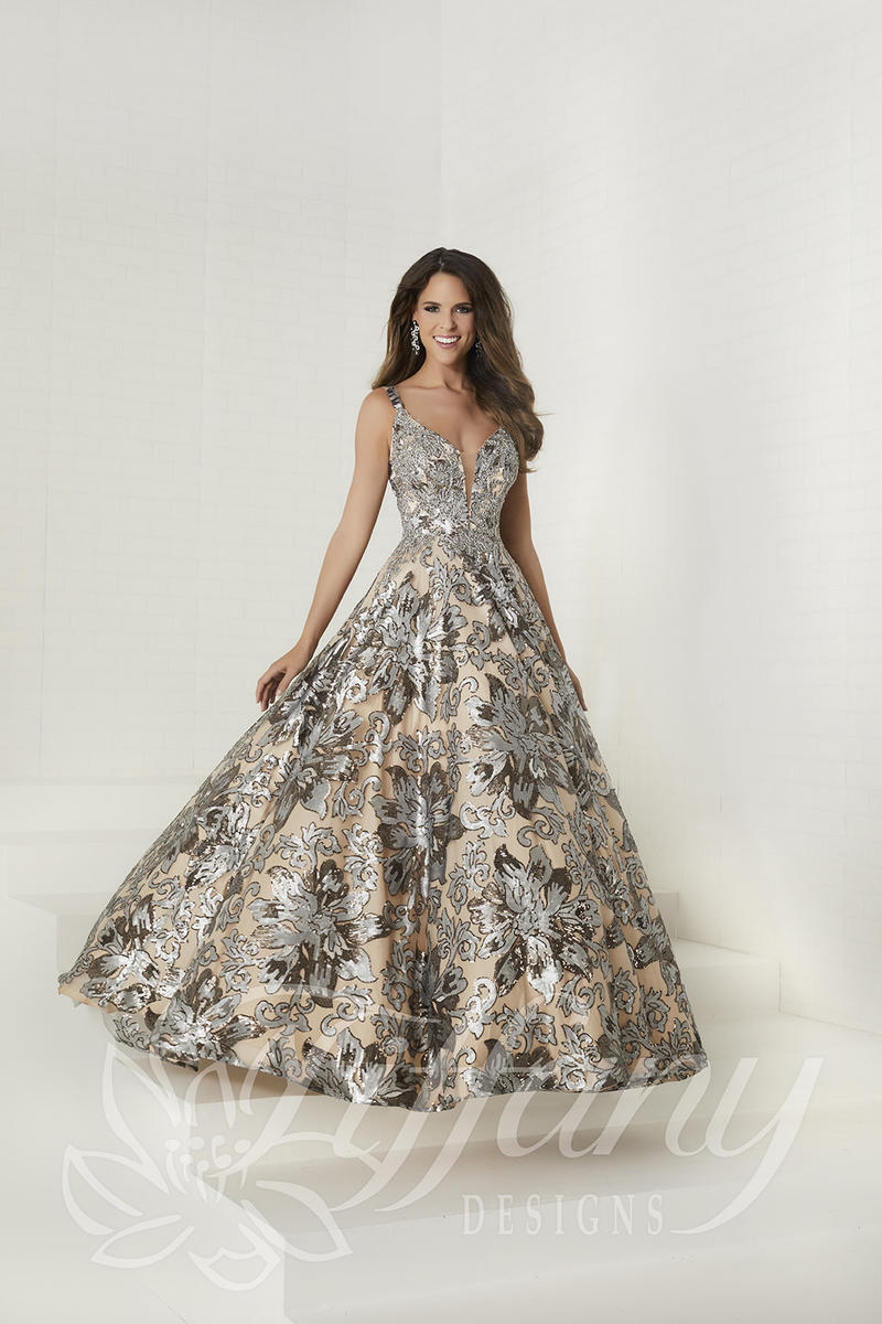Tiffany Designs 16294 Floral Sequin Prom Dress French Novelty
